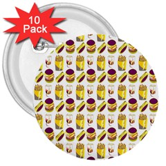 Hamburger And Fries 3  Buttons (10 Pack)
