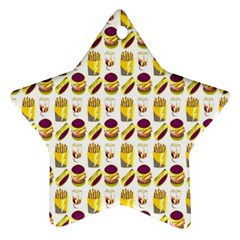 Hamburger And Fries Star Ornament (two Sides)