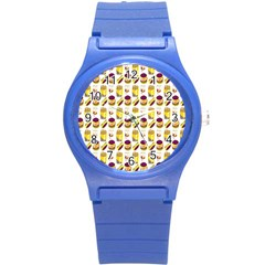 Hamburger And Fries Round Plastic Sport Watch (S)