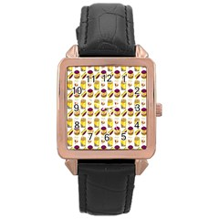 Hamburger And Fries Rose Gold Leather Watch
