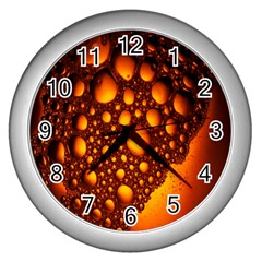 Bubbles Abstract Art Gold Golden Wall Clocks (silver)