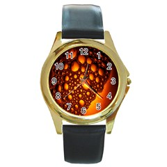 Bubbles Abstract Art Gold Golden Round Gold Metal Watch