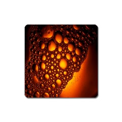 Bubbles Abstract Art Gold Golden Square Magnet