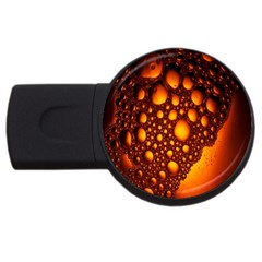 Bubbles Abstract Art Gold Golden USB Flash Drive Round (1 GB)