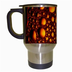 Bubbles Abstract Art Gold Golden Travel Mugs (white)