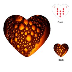Bubbles Abstract Art Gold Golden Playing Cards (heart)