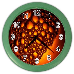 Bubbles Abstract Art Gold Golden Color Wall Clocks