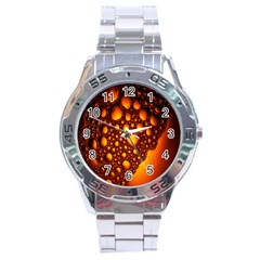Bubbles Abstract Art Gold Golden Stainless Steel Analogue Watch