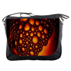 Bubbles Abstract Art Gold Golden Messenger Bags