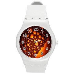 Bubbles Abstract Art Gold Golden Round Plastic Sport Watch (m)
