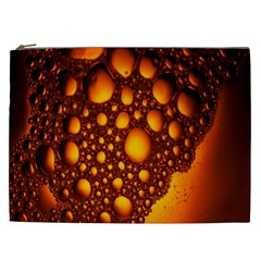 Bubbles Abstract Art Gold Golden Cosmetic Bag (XXL)