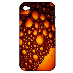 Bubbles Abstract Art Gold Golden Apple iPhone 4/4S Hardshell Case (PC+Silicone)