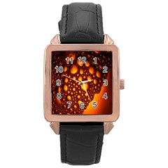 Bubbles Abstract Art Gold Golden Rose Gold Leather Watch