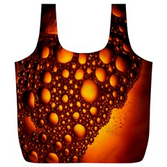 Bubbles Abstract Art Gold Golden Full Print Recycle Bags (L)