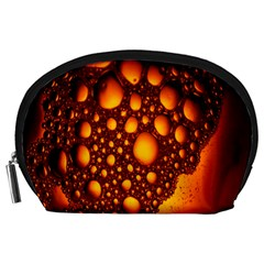 Bubbles Abstract Art Gold Golden Accessory Pouches (Large)