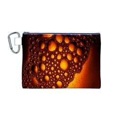 Bubbles Abstract Art Gold Golden Canvas Cosmetic Bag (M)