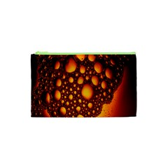 Bubbles Abstract Art Gold Golden Cosmetic Bag (xs)