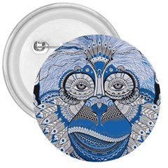 Pattern Monkey New Year S Eve 3  Buttons