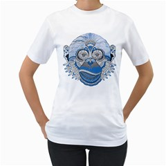 Pattern Monkey New Year S Eve Women s T Shirt (white) (two Sided)