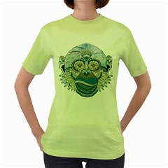 Pattern Monkey New Year S Eve Women s Green T Shirt