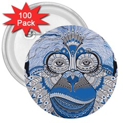 Pattern Monkey New Year S Eve 3  Buttons (100 Pack)