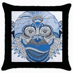 Pattern Monkey New Year S Eve Throw Pillow Case (Black)