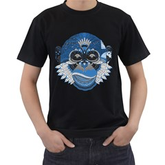 Pattern Monkey New Year S Eve Men s T Shirt (black) (two Sided)