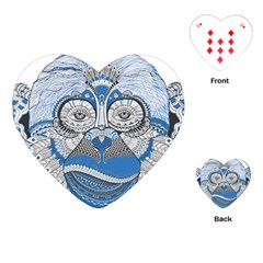 Pattern Monkey New Year S Eve Playing Cards (Heart)