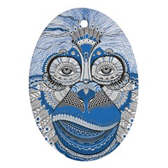 Pattern Monkey New Year S Eve Oval Ornament (Two Sides)