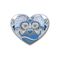Pattern Monkey New Year S Eve Heart Coaster (4 Pack)