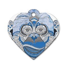 Pattern Monkey New Year S Eve Dog Tag Heart (two Sides)