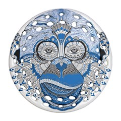 Pattern Monkey New Year S Eve Round Filigree Ornament (two Sides)