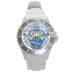 Pattern Monkey New Year S Eve Round Plastic Sport Watch (L)