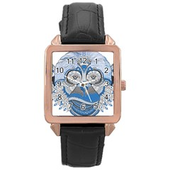 Pattern Monkey New Year S Eve Rose Gold Leather Watch