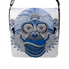 Pattern Monkey New Year S Eve Flap Messenger Bag (L)