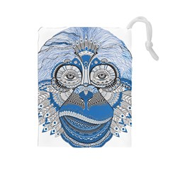 Pattern Monkey New Year S Eve Drawstring Pouches (Large)