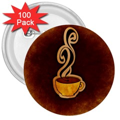 Coffee Drink Abstract 3  Buttons (100 Pack)