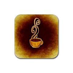 Coffee Drink Abstract Rubber Square Coaster (4 pack)