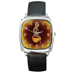 Coffee Drink Abstract Square Metal Watch