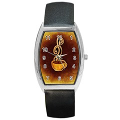 Coffee Drink Abstract Barrel Style Metal Watch