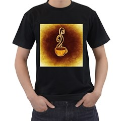 Coffee Drink Abstract Men s T-Shirt (Black) (Two Sided)