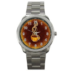 Coffee Drink Abstract Sport Metal Watch