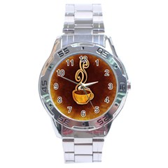 Coffee Drink Abstract Stainless Steel Analogue Watch