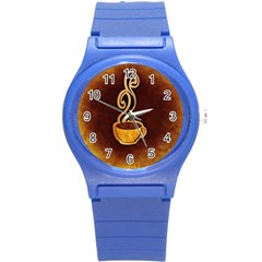 Coffee Drink Abstract Round Plastic Sport Watch (s)