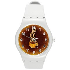 Coffee Drink Abstract Round Plastic Sport Watch (M)