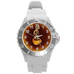 Coffee Drink Abstract Round Plastic Sport Watch (L) Front