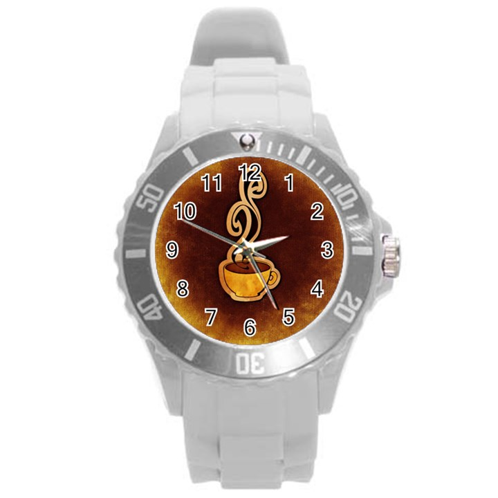 Coffee Drink Abstract Round Plastic Sport Watch (L)