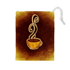 Coffee Drink Abstract Drawstring Pouches (Large)