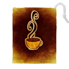 Coffee Drink Abstract Drawstring Pouches (XXL)