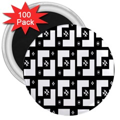 Abstract Pattern Background  Wallpaper In Black And White Shapes, Lines And Swirls 3  Magnets (100 pack)